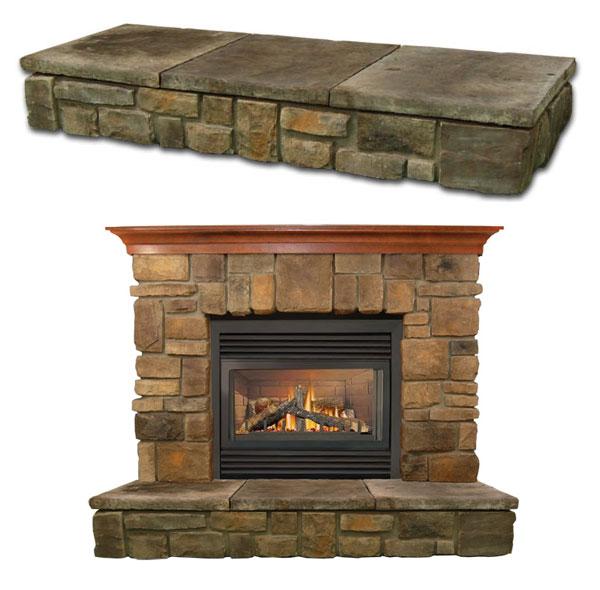 Raised Hearth Fireplace Designs: Elk-Ridge Fireplace Stone Mantel