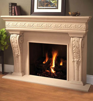 1110.Leaf.534 fireplace stone mantel