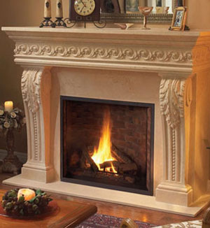 1110.Scroll.529 fireplace stone mantel