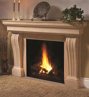 1135.537 fireplace stone mantel