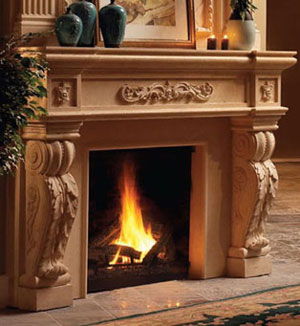 1142.524 fireplace stone mantel