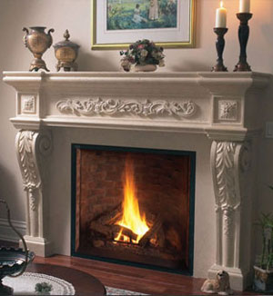 1145.534 fireplace stone mantel