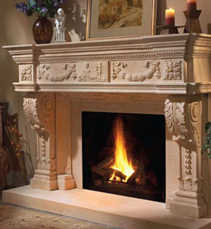 1152.546 fireplace stone mantel