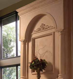 Colonial fireplace stone overmantel