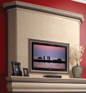 Tuscan fireplace stone overmantel
