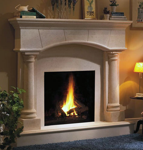 ... fireplace mantel boasts a graceful arched mantel shelf that will