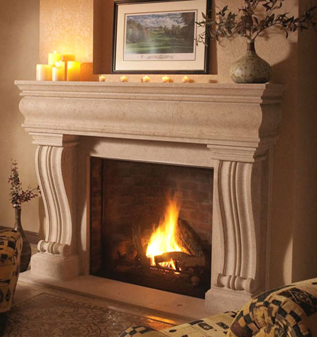 1106.536 fireplace stone mantel