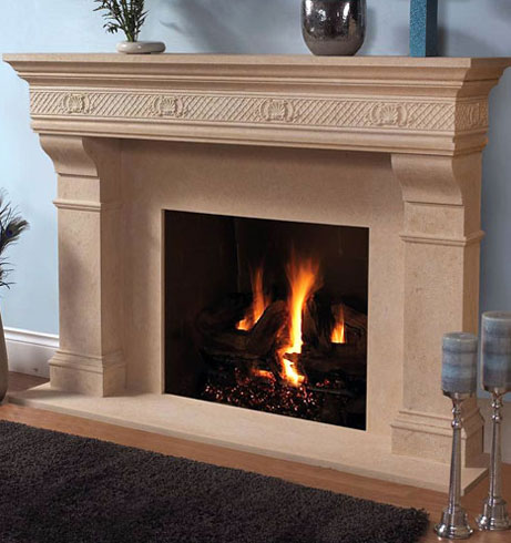 1110.Shell.557 fireplace stone mantel