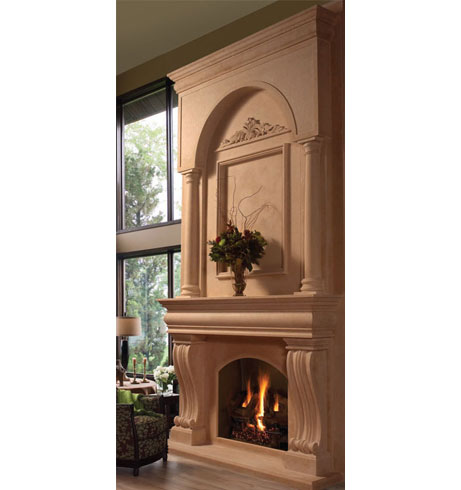 COLONIAL cast stone overmantel